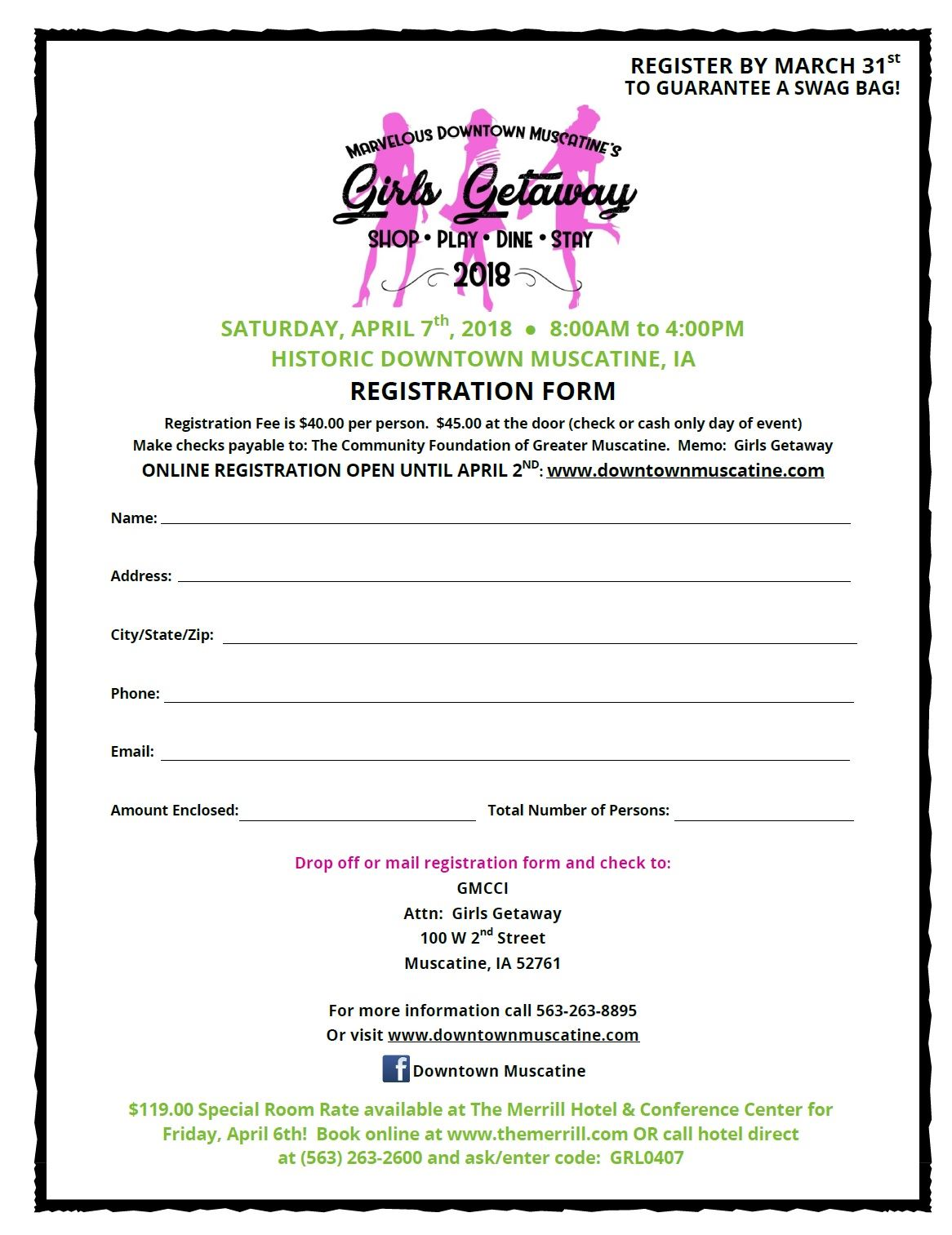 Girls Getaway Registration Form